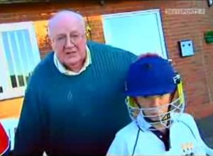 Theo Butler with a young George Knock for our Centenary Year appearance on Cricket AM in 2008