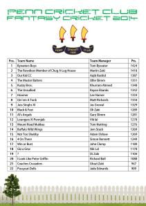 Fantasy Cricket Table 2014