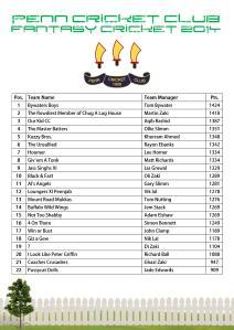 Fantasy Cricket Table 2014