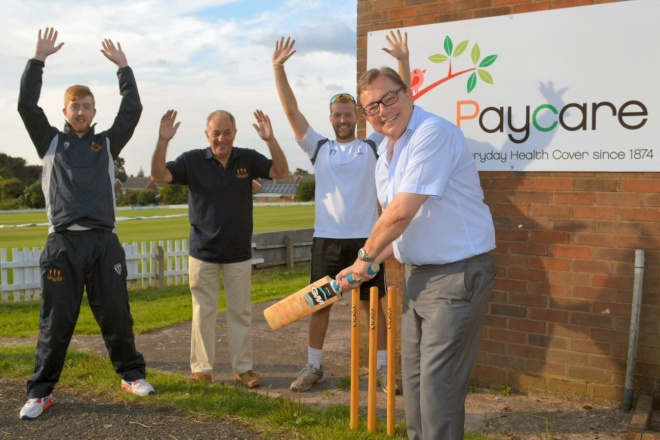 Paycare chief executive, Kevin Rogers (with bat) celebrates the sponsorship deal with (left to right) Penn CC's publicity and marketing executive, Simon Bennett, club president, John Fellows and Club captain, Tom Nutting.